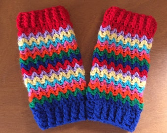 Rainbow Legwarmers --- Crochet Pattern Only