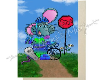 Mouse bike, bicycle card ride bike, bicycle, sports card congratulations card, card training