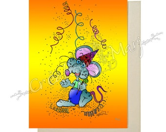 Holiday, festive, fun card card, card Party, celebration card mouse