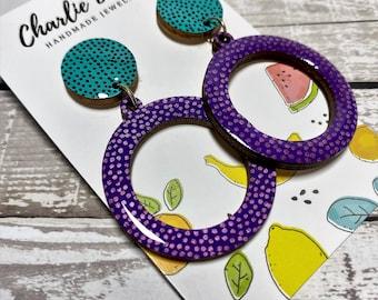 Polka Dot Dangles Stud Dangles Hand Painted Jewellery