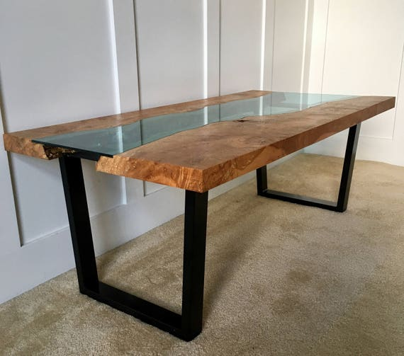 Glass Coffee Tables Etsy: Items Similar To Custom Live Edge With Glass Inlay