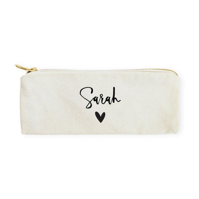 Personalized Name with Heart Cotton Canvas Pencil Case and image 0