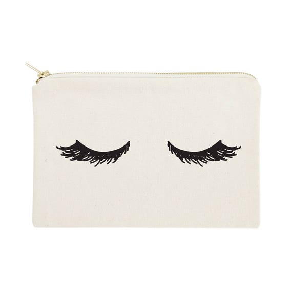 Closed Eyelashes Cotton Canvas Cosmetic Bag Toiletry Bag and   Etsy f3ddefe53a