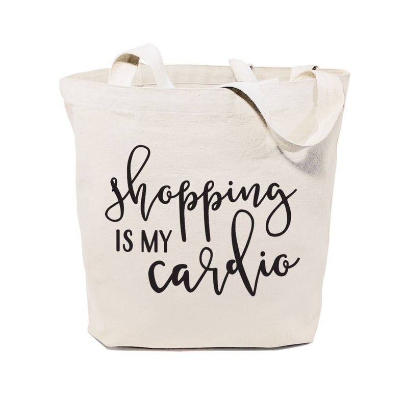 da79ad0d4d9ec6 Shopping is My Cardio Cotton Canvas Gym Yoga Shopping and   Etsy