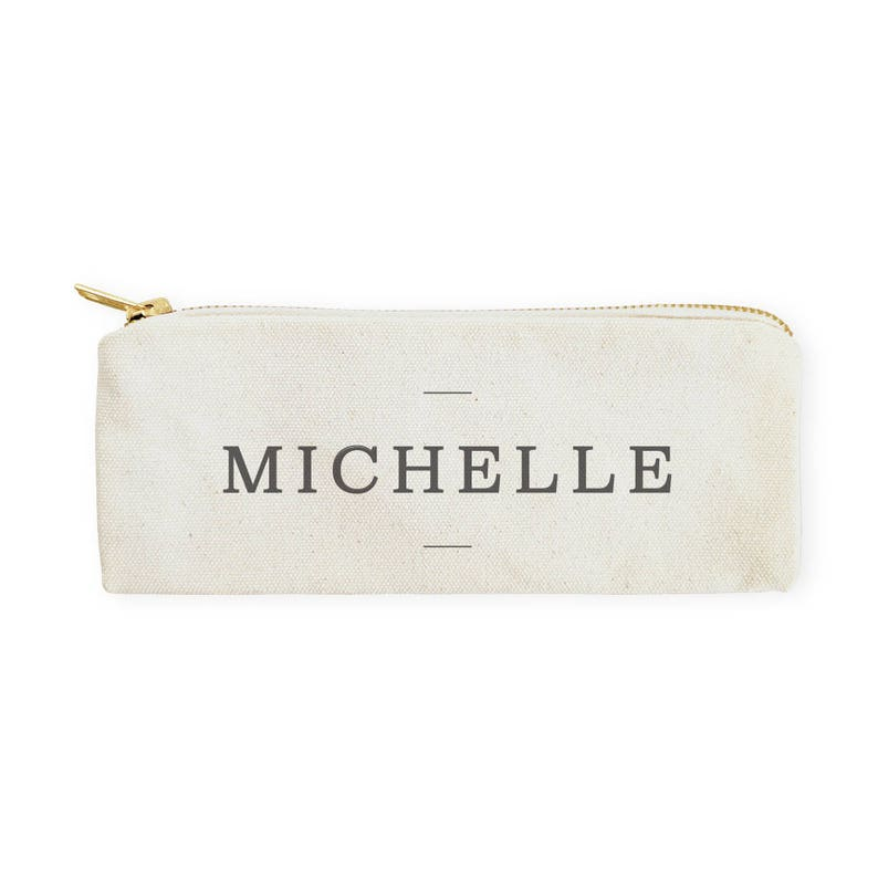 Makeup Bag and Pouch DIY Supplies Personalized Modern Name Cotton Canvas Pencil Case and Travel Pouch for Back to School Gift for Her