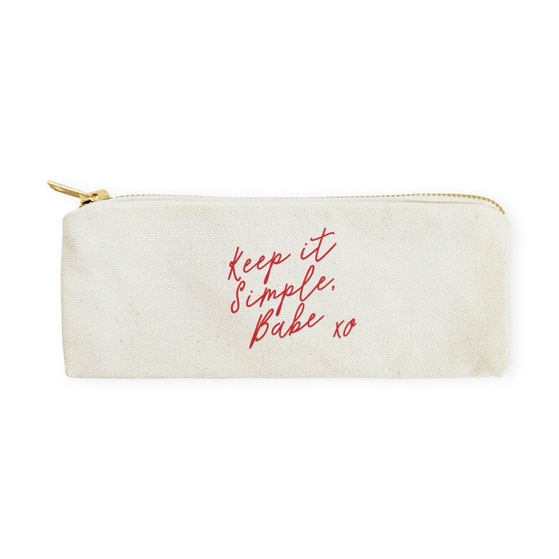 DIY Keep it Simple Babe Cotton Canvas Pencil Case,Travel Pouch for Back to School Supplies Zipper Pouch Paper Goods Makeup Bag Gift