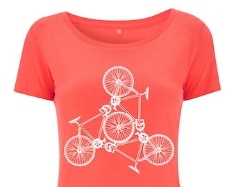 Womens Coral Road Bike Tshirt Hand Screen Printed