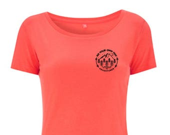 Womens Coral Adventure Tshirt Hand Screen Printed - Go Your Own Way
