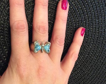 Turquoise blue butterfly millefiori silver ring size P     REDUCED