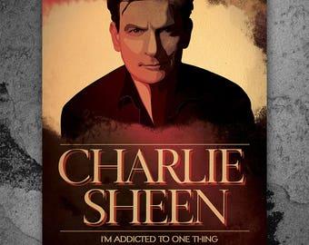 Charlie Sheen, Two and a Half Men,  Artwork, Handmade, Printable Art, Poster, Instant Download, Digital Print, Home Decor, Wall Art,Download