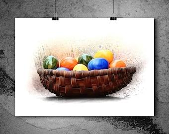 Easter basket, easter eggs, easter, easter time, colorful eggs, Drawn Artwork, PRINTABLE ART, Poster, Instant Download, Print, Wall Art