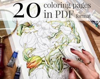 """Coloring book """"Botanical weave"""". Coloring pages for adults. LineArt Instant Download Printable. PDF included 20 A4 illustrations"""