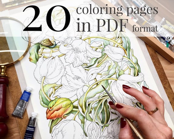 Coloring Book Botanical Weave Pages For
