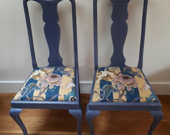 Upcycled dining chairs reupholstered in House of Hackney fabric and painted with Annie Sloan chalk paint (pair)