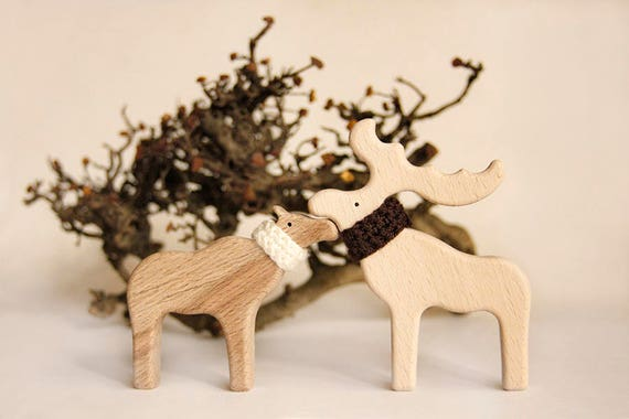 Moose In Love Wooden Toy