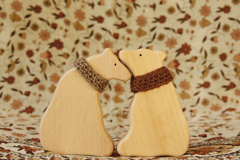 Wooden toy Brown bears in Love