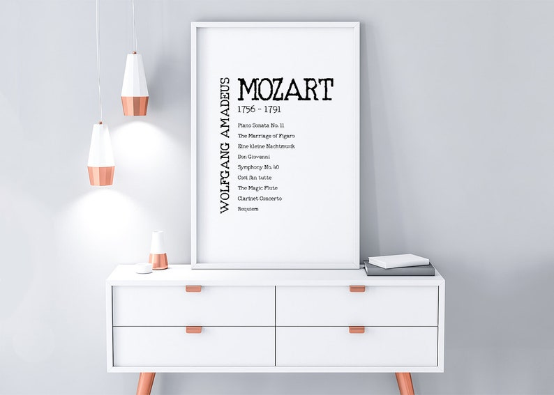 Mozart Classical Music Poster, Digital Download, Wolfgang Amadeus Mozart  Print, Classical Composer, Gift for Musician, Typography Print