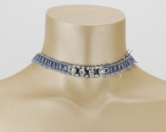 Denim Jeans Necklace TWENTY-Six with Rhinestones  - blue silver