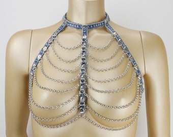 Denim Jeans Harness Forty, blue silver , size S