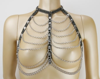 Denim Jeans Harness Forty, black silver , size M