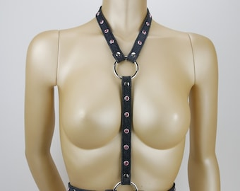 Jeans instead of leather Harness FIFTY-ONE with pink rhinestones , black pink silver, size S