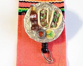 Taco Badge Reel mexican food tacos de bistec retractable with mini coca cola