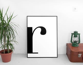 Letter R Print Poster Letters Art Typography Wall Scandinavian Affiche Scandinave Black
