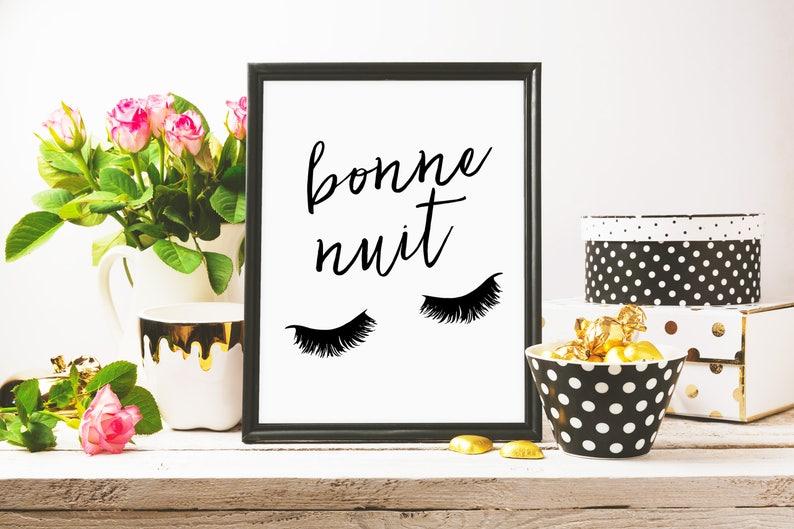Bonne Nuit Print Plakat Do Druku Rzęsy Typografia Plakat Wall Art Czarny I Biały Wystrój ściany Druk Domowy Francuski Beauty Print
