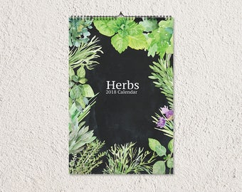 2018 Wall Calendar, Printable Calendar, 2018 Calendar, Monthly Planner, Wall Calendar, Calendar Printable, Herbs Calendar, Greens Calendar