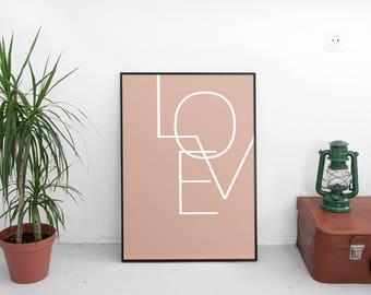 Minimalist Print, Love Print, Poster, Pastel and white, Scandinavian, Wall Art, Wall Decor, Home Decor Wall Decor Modern