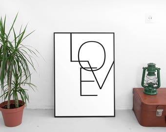 Minimalist Print, Love Print, Poster, Black and white, Scandinavian, Wall Art, Wall Decor, Home Decor Wall Decor Modern
