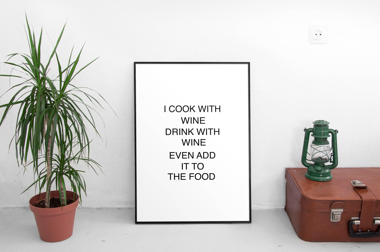 Ich Liebe Es Zu Kochen Mit Wein Küchenkunst Wein Zitat Etsy
