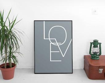 Minimalist Print, Love Print, Poster, Grey and white, Scandinavian, Wall Art, Wall Decor, Home Decor Wall Decor Modern