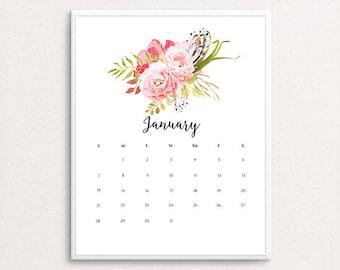 2018 Wall Calendar, Printable Calendar, 2018 Calendar, Monthly Planner, Wall Calendar, Calendar Printable, Floral Calendar, 2018 Planner