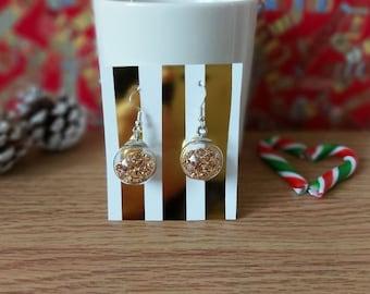Mini Christmas Bauble Earrings (Gold)