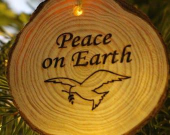 Gift Tag  Wood Burned Ornament   Peace on Earth