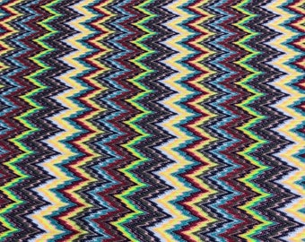 8eb068a1934 Knit jersey fabric/zigzag jersey fabric/green and rainbow authentic  designer knit fabric made in Italy/crochet zigzag fabric.