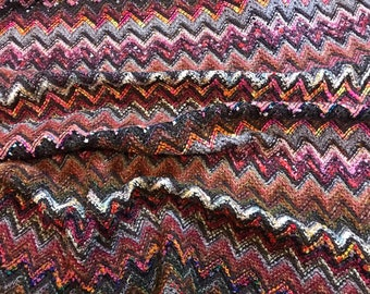 4c14780c2e7 Knit jersey fabric/zigzag jersey fabric/pink and purple authentic designer  fabric made in Italy.