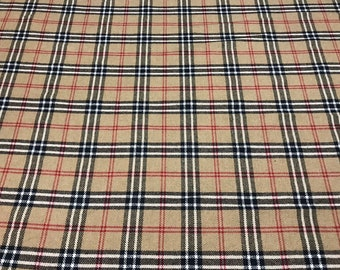 Plaid beige wool fabric . Checkered warm wool fabric made in Italy. Piece  1.5 m price cb5e8459d32e