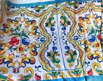 21000e4776ed Majolica cotton fabric. White cotton fabric. Maiolica cotton fabric. Yellow  and blue maiolica cotton fabric. 1.4 m price