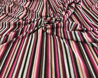 158a80aa4bf Knit jersey fabric/zigzag jersey fabric/orange and pink authentic designer knit  fabric made in Italy/crochet zigzag fabric.