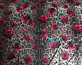 Cheetah fabric with pink roses. Stretch satin fabric. Floral cheetah fabric  satin. Leopard and roses fabric satin stretch. ad32fee37