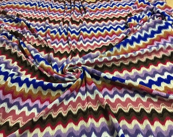 90992e94260 Knit jersey fabric/zigzag jersey fabric/blue and pink authentic designer knit  fabric made in Italy/crochet zigzag fabric.