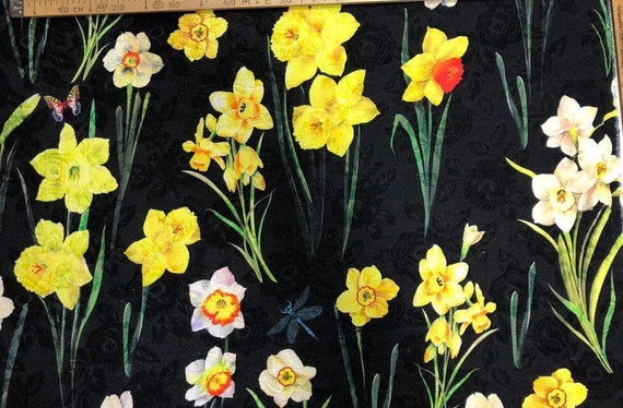 Price for 1.5 m Haute Couture brocade narcissus fabric Floral matelasse fabric Black jacquard with yellow daffodil print