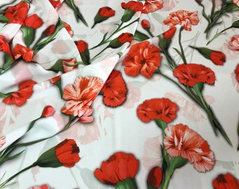 Carnation silk fabric. Floral silk fabric. Mulberry silk fabric. Crepe-de-chine fabric with red carnations. Price for 1.5yards