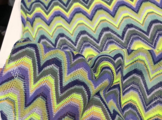 a8a4d506530 Knit jersey fabric/zigzag jersey fabric/green and purple   Etsy