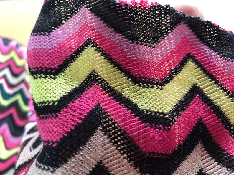8e05ad467a2 Knit jersey fabric/zigzag jersey fabric/green and pink   Etsy