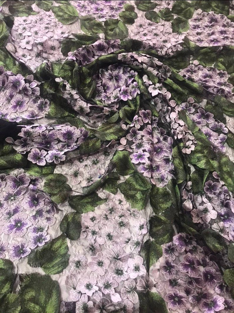 470d29b4678e6 Designer embroidered tulle fabric. Wisteria tulle fabric/hydrangea  embroidered fabric lace. 1 yard price