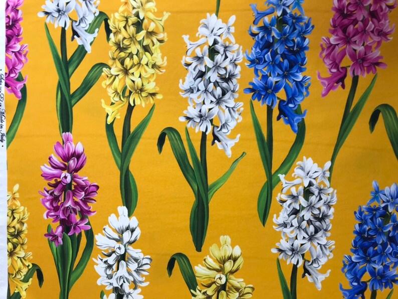 a0ba5e03af2e2 Purple and yellow hyacinth silk fabric. Designer fabric for dress. Stretch  silk fabric. Hydrangea fabric crepe de chine.