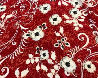 Designer authentic velvet fabric/silk velvet devoree fabric/silk velour fabric devore/red velvet fabric with white flower.